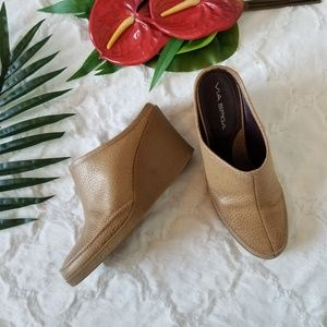 Via Spiga Brown Upper Leather Tan Wedge Mule